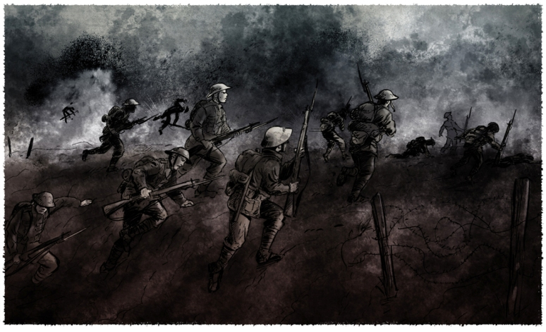 WW1 battle sketch